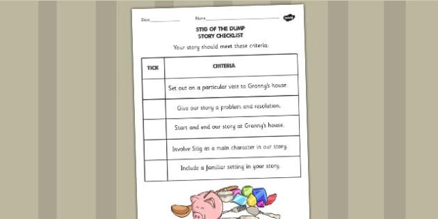 Stig of the Dump Story Checklist - Stig, Dump, Story, Checklist