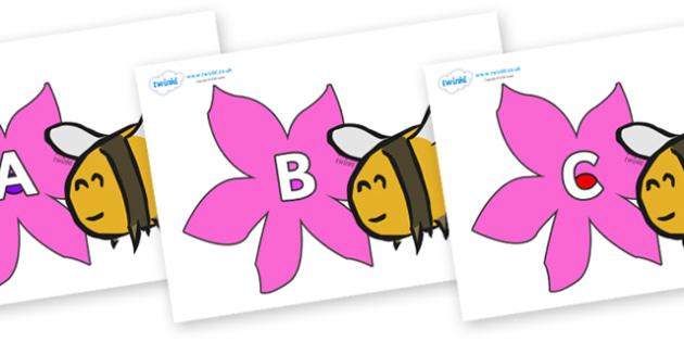 A-Z Alphabet on Bees - A-Z, A4, display, Alphabet frieze, Display letters, Letter posters, A-Z letters, Alphabet flashcards