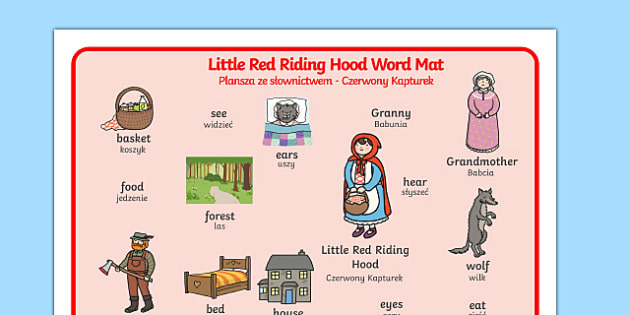 Little Red Riding Hood Word Mat Polish Translation - polish, Little Red Riding Hood, word mat, writing aid, traditional tales, tale, fairy tale, Wolf, Grandma, woodcutter, bed, cottage, forest, what big teeth you have