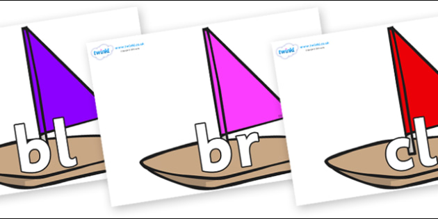 Initial Letter Blends on Toy Boats - Initial Letters, initial letter, letter blend, letter blends, consonant, consonants, digraph, trigraph, literacy, alphabet, letters, foundation stage literacy