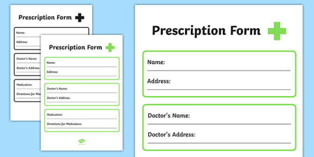 Pharmacy Role Play Prescription Form - doctors, roleplay, props