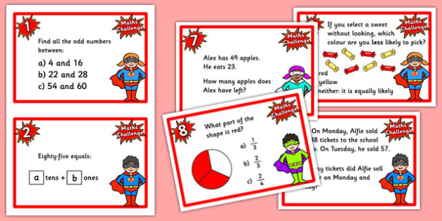 Year 3 Maths Challenge Cards - challenge cards, cards, year 3, KS2, KS2 maths challenge, numeracy, numeracy challenge, numeracy challenge cards, challenge game, superheroes, superheroes numeracy challenge