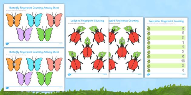Minibeast Fingerprint Counting Activity Sheets Pack - EYFS activities, number, EAD, ladybird, caterpillar, butterfly, worksheet