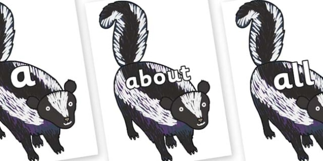 100 High Frequency Words on Skunk to Support Teaching on The Bad Tempered Ladybird - High frequency words, hfw, DfES Letters and Sounds, Letters and Sounds, display words