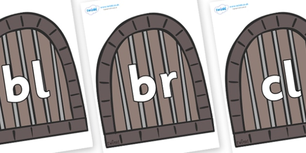 Initial Letter Blends on Jail Cells - Initial Letters, initial letter, letter blend, letter blends, consonant, consonants, digraph, trigraph, literacy, alphabet, letters, foundation stage literacy