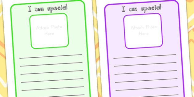 I Am Special Worksheets - ourselves, feelings, emotions, special