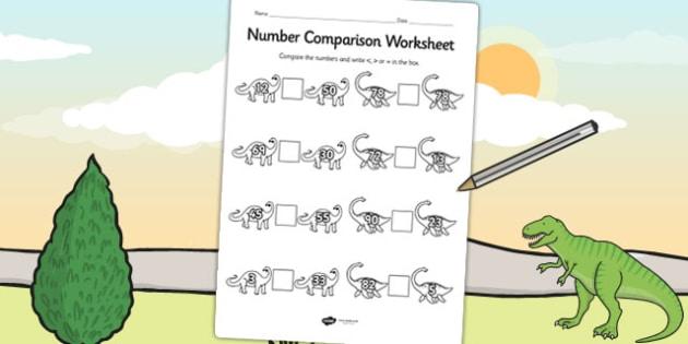 Dinosaur Number Comparison Worksheet - dinosaur, numbers, maths