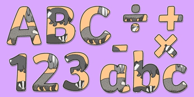 Badger Themed Display Lettering - animal, letering, displaylettering, display lettring, llettering, display letterig, nocternal animals, noturnal animals, l;ettering, aniamls, letteriong, letttering, letterinh, editble, badgers, set