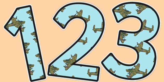 World War Two Aeroplane Themed A4 Display Numbers - ww2, aeroplane