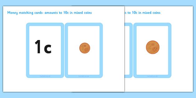 Money Matching Cards 1 cent - 10 cent - money, matching cards, 1c, 10c