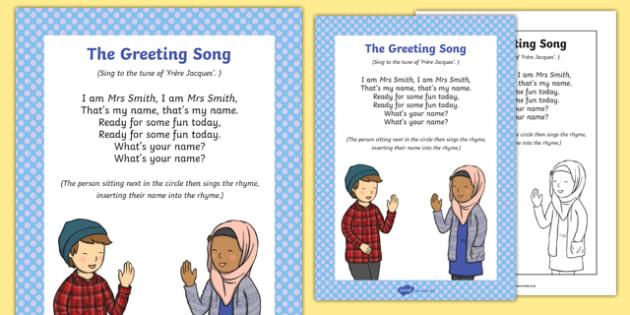 Greeting Song Rhyme Sheet - greeting song, rhyme, song, rhyme, greeting, music, sing