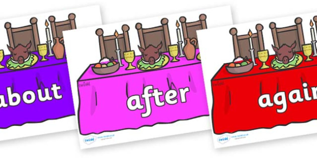 KS1 Keywords on Dining Tables (Multicolour) - KS1, CLL, Communication language and literacy, Display, Key words, high frequency words, foundation stage literacy, DfES Letters and Sounds, Letters and Sounds, spelling