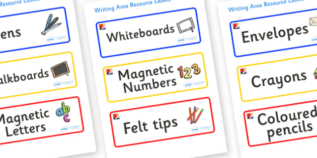 Mondrian Themed Editable Writing Area Resource Labels - Themed writing resource labels, literacy area labels, writing area resources, Label template, Resource Label, Name Labels, Editable Labels, Drawer Labels, KS1 Labels, Foundation Labels, Foundati