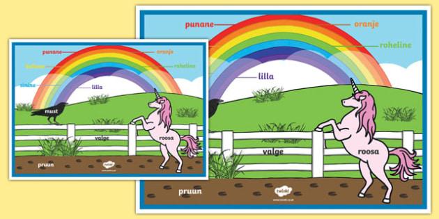 Rainbow Colours - Estonian A2 Display Poster
