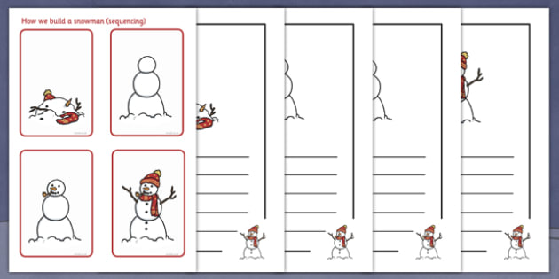 How To Build a Snowman Sequencing Worksheet - snowman, winter