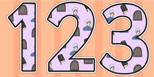 Elizabeth Fry Themed Display Numbers - elizabeth fry, display numbers, numbers, numbers for display, themed numbers, classroom display, display