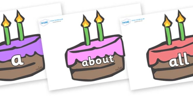 100 High Frequency Words on Cakes - High frequency words, hfw, DfES Letters and Sounds, Letters and Sounds, display words