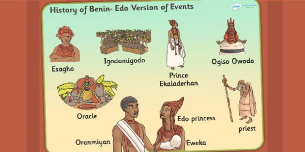 History of Benin Edo Version of Events Story Word Mat - keywords