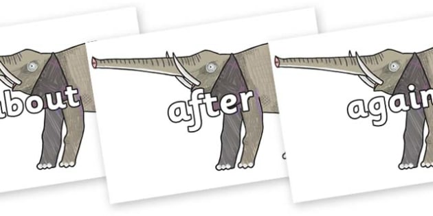 KS1 Keywords on Elephant to Support Teaching on The Bad Tempered Ladybird - KS1, CLL, Communication language and literacy, Display, Key words, high frequency words, foundation stage literacy, DfES Letters and Sounds, Letters and Sounds, spelling
