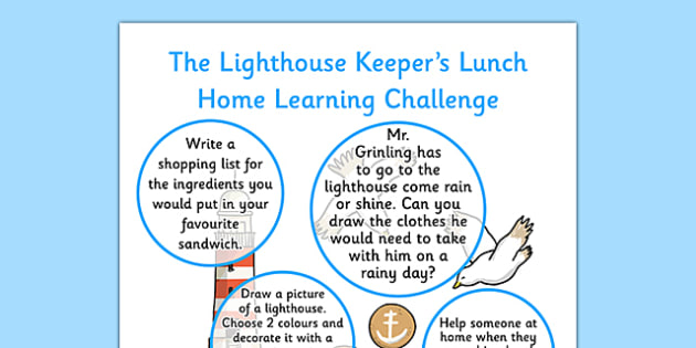 Home Learning Challenge Sheet Reception FS2 to Support Teaching on The Lighthouse Keeper's Lunch - lighthouse