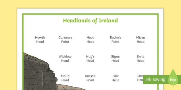Headlands of Ireland Word Mat