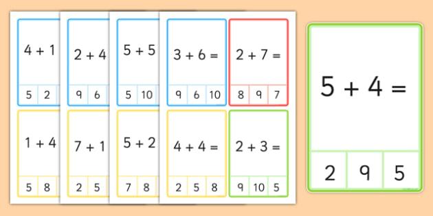 Peg Card Sums Within 10 - peg card, sums, within 10, 10, addition