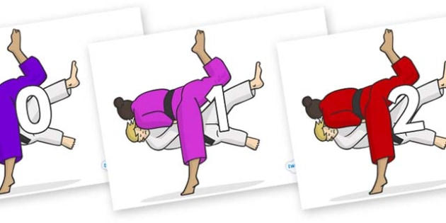 Numbers 0-50 on Judo - 0-50, foundation stage numeracy, Number recognition, Number flashcards, counting, number frieze, Display numbers, number posters