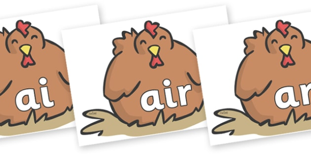 Phase 3 Phonemes on Chickens - Phonemes, phoneme, Phase 3, Phase three, Foundation, Literacy, Letters and Sounds, DfES, display