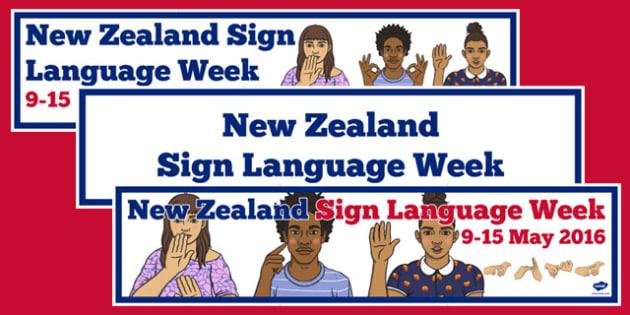 New Zealand Sign Language Week Display Banners Pack - nz, new zealand, sign language, new zealand sign language week, display banners