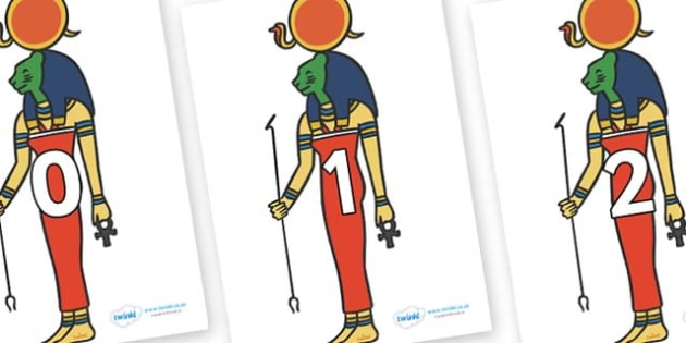 Numbers 0-50 on Egyptian God - 0-50, foundation stage numeracy, Number recognition, Number flashcards, counting, number frieze, Display numbers, number posters