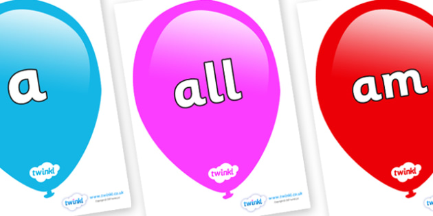 Foundation Stage 2 Keywords on Balloons - FS2, CLL, keywords, Communication language and literacy,  Display, Key words, high frequency words, foundation stage literacy, DfES Letters and Sounds, Letters and Sounds, spelling