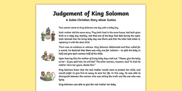 Judgement of King Solomon Story