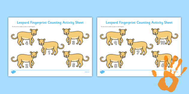 Leopard Fingerprint Counting Activity Sheet Pack - EYFS activities, number, EAD, safari, savannah, zoo, worksheet
