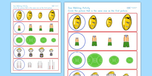 AFL Australian Football League Size Matching Worksheets - sport