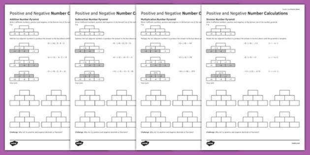 KS3_KS4 Maths Student Led Practice Sheets Positive and Negative Number Calculations - maths, KS3, KS4, GCSE, worksheet, practise, independent, growth mindset, positive numbers, negative numbers, calculation, addition, subtraction, multiplication, div