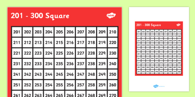 201-300 Square - 201, 300, square, number, number square, maths, numeracy