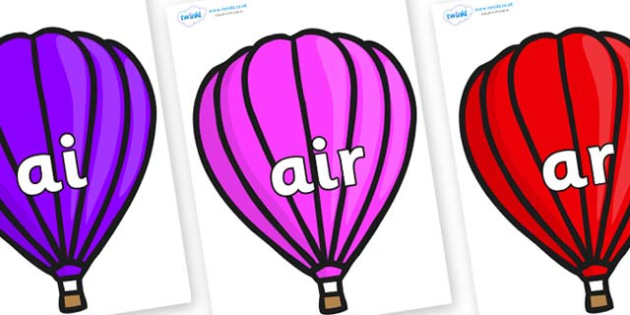 Phase 3 Phonemes on Hot Air Balloons (Plain) - Phonemes, phoneme, Phase 3, Phase three, Foundation, Literacy, Letters and Sounds, DfES, display