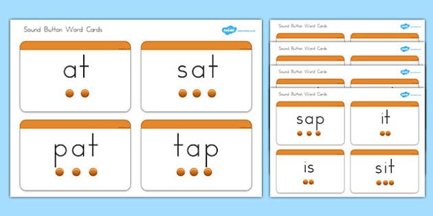 Phase 2 Sound Button Word Cards - australia, phase 2, sound, button, word cards, word, cards