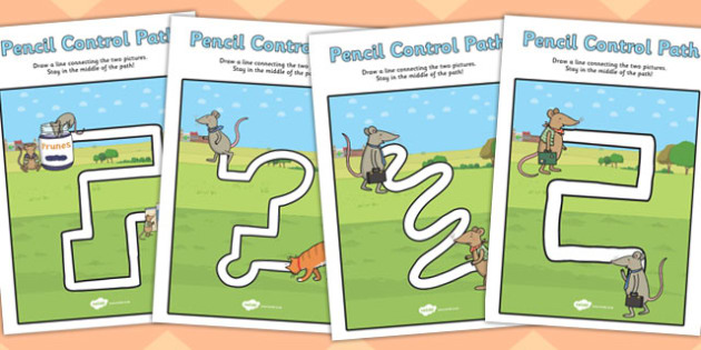The Town Mouse and Country Mouse Pencil Control Path Worksheets