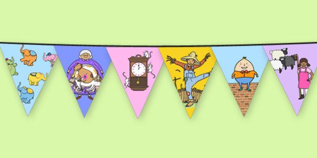 Nursery Rhyme Characters Themed Bunting - nursery rhyme, characters, themed, bunting, display
