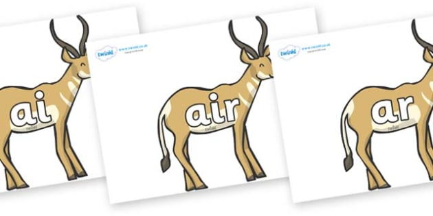 Phase 3 Phonemes on Antelopes - Phonemes, phoneme, Phase 3, Phase three, Foundation, Literacy, Letters and Sounds, DfES, display