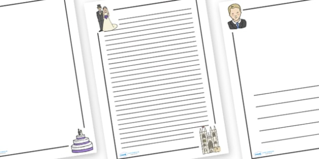 The Royal Wedding Page Borders - Royal Wedding, The Royal Wedding, Page border, border,  KS1, writing Borders, Prince William, Kate Middleton, The Royal Wedding, April 29th, Queen, Prince philip, marriage