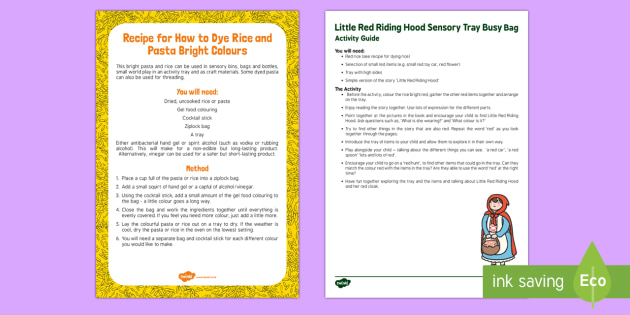 Little Red Riding Hood Sensory Tray Busy Bag Resource Pack for Parents