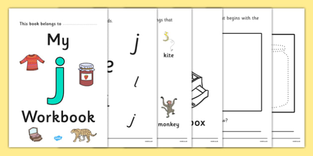 My Workbook j lowercase - workbook, j sound, lowercase, letters, alphabet, activity, handwriting, writing