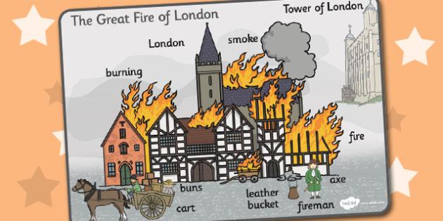 The Great Fire of London Scene Word Mat - Great, Fire, London