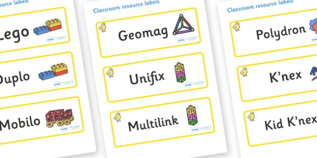 Chicks Themed Editable Construction Area Resource Labels - Themed Construction resource labels, Label template, Resource Label, Name Labels, Editable Labels, Drawer Labels, KS1 Labels, Foundation Labels, Foundation Stage Labels