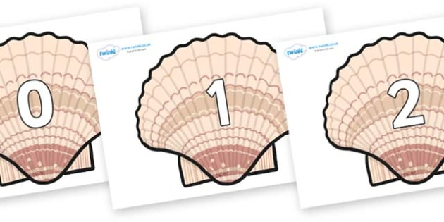 Numbers 0-100 on Seashells - 0-100, foundation stage numeracy, Number recognition, Number flashcards, counting, number frieze, Display numbers, number posters
