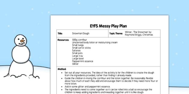 Snowman Dough Messy Play Plan - messy play, card, dough, snowman, eyfs, plan