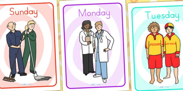 People Who Help Us Day Of The Week - weeks, days, months, display