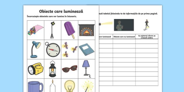 Obiecte care luminează Fișă de lucru-Romanian